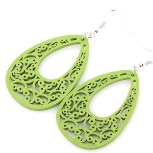 Jewelry - Green Wooden Earrings